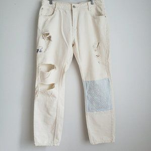 Zara Trafaluc distressed cream straight leg jean